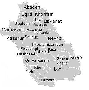 Gli shahrestān della provincia di Fars.