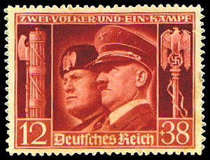 Stamp of the German Empire with Hitler & Musso...