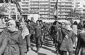 Palestinian insurgency in South Lebanon - Fedayeen from Fatah at a rally in Beirut, 1979.