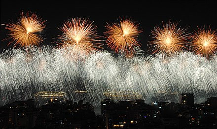 Copacabana in Rio de Janeiro hosts one of the world's largest fireworks displays on New Year's Eve, attracting millions of spectators. Feliz 2013 (8332275903).jpg