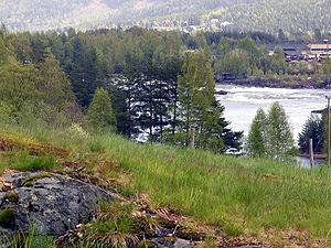 Evje og Hornnes - View of the Fennefoss area in Hornnes