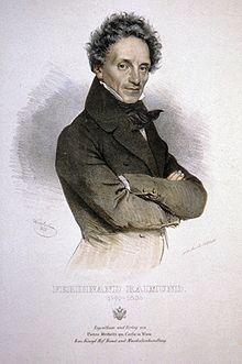 Ferdinand Raimund (Lithographie von Joseph Kriehuber 1835) (Quelle: Wikimedia)