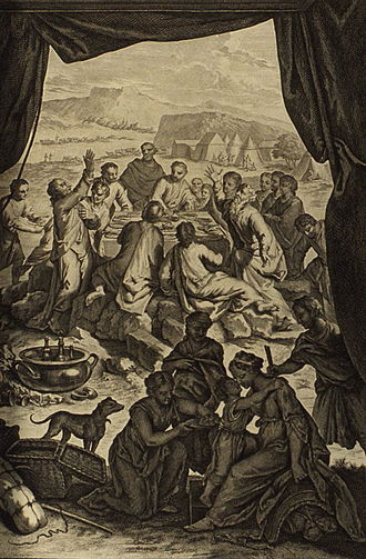 Laban (Bible) - Laban and Jacob make a covenant together, as narrated in Genesis 31:44–54
