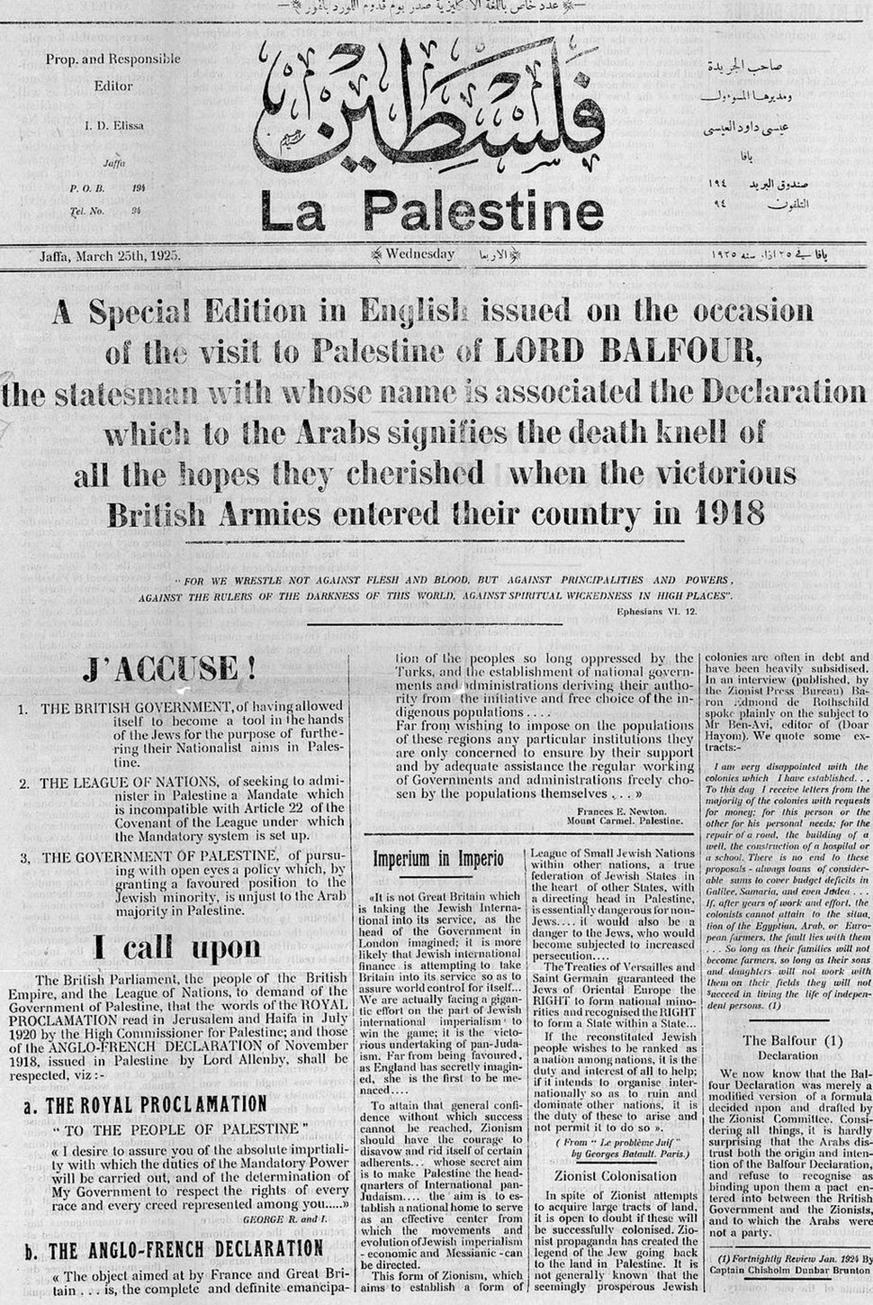 Filastin (La Palestine) March 25th 1925 editorial addressed to Lord Balfour.pdf