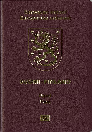 Finnish passport - The front cover of the current Finnish biometric passport