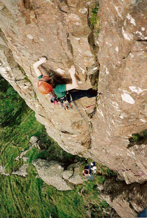 Fair Head - The single-pitch Fireball (grade E1/5b) at The Prow, Fair Head.