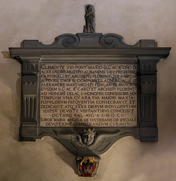 File:Firenze, sant'onofrio del monastero di fuligno, interno, lapide clemente vii e vescovo alessandro de' medici,1601.jpg