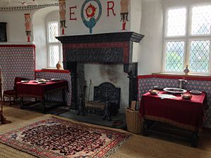 Dornix - Room at Plas Mawr, the walls hung with reproduction Dornix