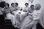 First Ladies (left to right) Nancy Reagan, Lady Bird Johnson, Clinton (then the current First Lady), Rosalynn Carter, Betty Ford, and Barbara Bush on May 11, 1994 at the National Garden Gala: A Tribute to America's First Ladies