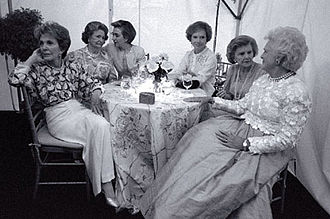 "First Lady of the United States - First Ladies (from left to right) Nancy Reagan, Lady Bird Johnson, Hillary Clinton, Rosalynn Carter, Betty Ford, and Barbara Bush at the ""National Garden Gala, A Tribute to America's First Ladies"", May 11, 1994. Jacqueline Kennedy Onassis, absent due to illness, died a week after this photograph was taken."