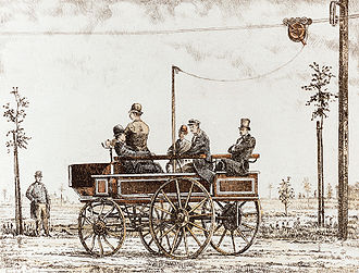 "Trolleybus - The ""Elektromote"", the world's first trolleybus, in Berlin, Germany, 1882"