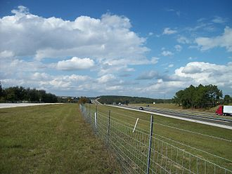 Florida's Turnpike - Looking northbound at Florida's Turnpike as seen from the shoulder of Old County Road 50 near Clermont, at mile 276