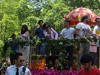 Brampton Arts Walk of Fame - Bipasha Basu and RDB appear on the final float of the Flower City Parade, 2011, the day after the induction ceremony.