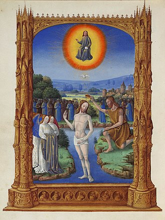 Son - Miniature in Les Très Riches Heures du Duc de Berry depicting the Baptism of Jesus, where God the Father proclaimed Jesus to be his Son.