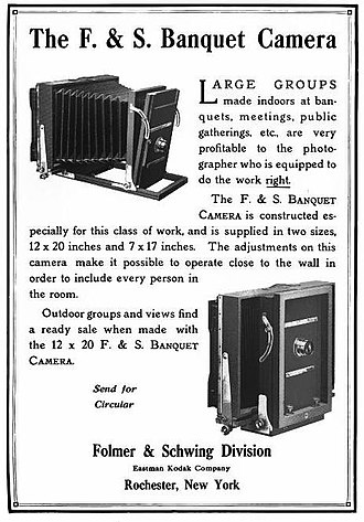 "Graflex - 1914 ad for the Folmer and Schwing ""Banquet Camera"""