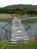 Footbridge, Loch Carnain an Amais. Unsafe and going nowhere.