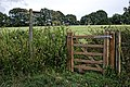 Footpath gate and fingerpost at Nuthurst, West Sussex.jpg