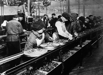 Ford assembly line, 1913. The magneto assembly line was the first. Ford assembly line - 1913.jpg