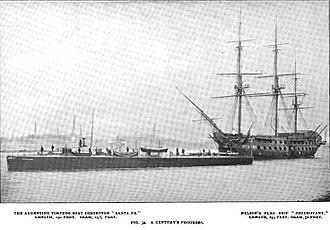 HMS Foudroyant (1798) - Foudroyant seen next to the Argentine torpedo boat destroyer Santa Fe - circa 1897