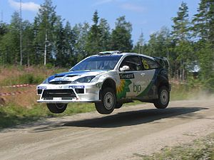 François Duval driving his Ford Focus RS WRC 0...