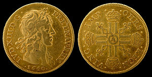Louis d'or - Image: France 1640 4 Louis d'or (Louis XIII)