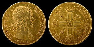 1640 in France - Louis d'or of Louis XIII (1640), first year of issue.