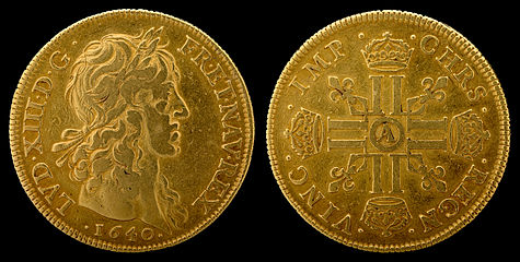 4 Louis d'or of Louis XIII(1640), first year of issue, Paris Mint. [nb 1]