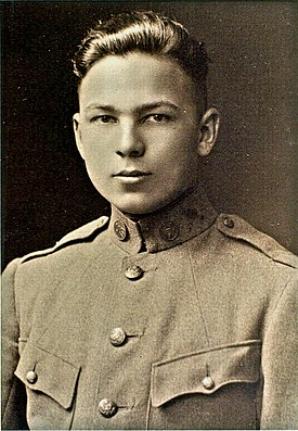 Sepia-color photo of a young man in military uniform