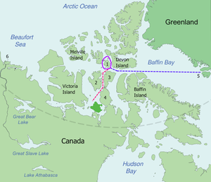 Map of the probable routes taken by Erebus and...