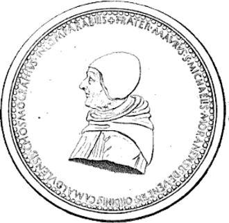 """Fra Mauro - A medal in honor of Fra Mauro, """"an incomparable cosmographer"""", produced soon after his death, probably by the artist Giovanni Boldù"""