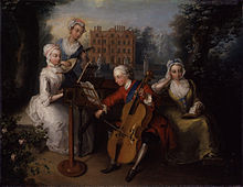 A musical portrait of Frederick, Prince of Wales, and his sisters by Philip Mercier, dated 1733, using Kew Palace as its plein-air backdrop (Source: Wikimedia)