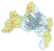 Die Freiburger Stadtbezirke mit ihren amtlichen Nummern. Stadtteile mit Ortschaftsverfassung in beige