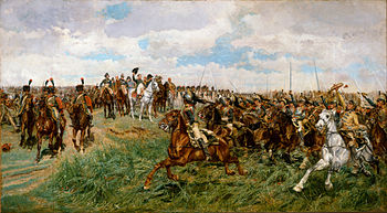 Painting showing masses of cuirassiers charging past Napoleon as he waves his hat