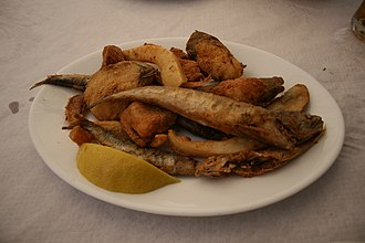 Cuisine of the Sephardic Jews - Western Sephardi dish of pescado frito. The predecessor of Fish and Chips introduced in the 17th Century by Jews from Spain and Portugal, and is now also staple of British cuisine.