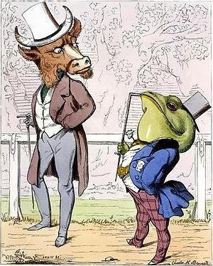 The Frog and the Ox - Charles H. Bennett's class-conscious interpretation of the fable, 1857