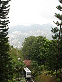Funicular approaching top of Penang Hill.JPG