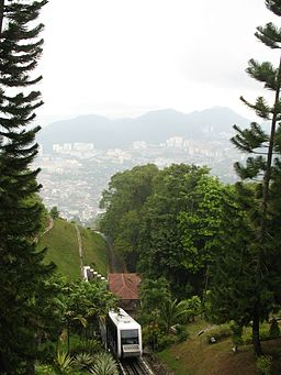 Funicular approaching top of Penang Hill.JPG