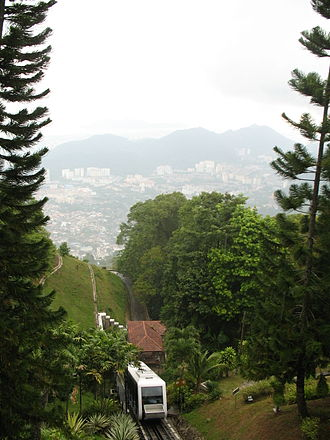 Penang Hill - Modern view from the hill towards Gelugor and Jerejak island with the funicular in the foreground