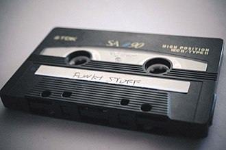 "Mixtape - A compact audio cassette mixtape with a handwritten label: ""Funky Stuff"""