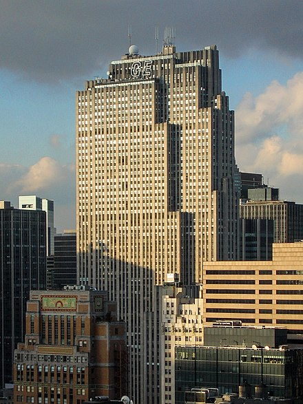The Comcast Building in New York City (or the GE Building, originally the RCA Building) serves as the headquarters of NBC GE Building Oct 2005.jpg