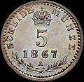 GOW 5 kreuzer 1867 A reverse.jpg