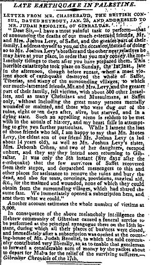 Galilee earthquake of 1837 - Galilee Earthquake report in The Times, 1 March 1837