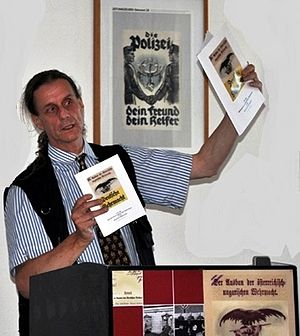 """Herbert Gantschacher - Herbert Gantschacher at the opening of Von der k.u.k. Wehrmacht in die deutsche Wehrmacht (""""From the Austrian-Hungarian Wehrmacht to the German Wehrmacht"""" (ARBOS, Vienna-Salzburg-Klagenfurt-Arnoldstein-Prora 2009/2010) in Rügen, Germany"""
