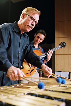Vibraphonist Gary Burton and guitarist Julian Lage. Note the good view of the Burton four-mallet grip.
