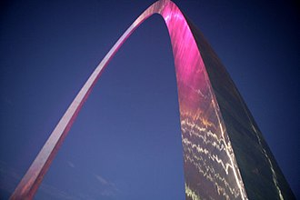 Gateway Arch - The arch illuminated in pink in honor of Breast Cancer Awareness Month