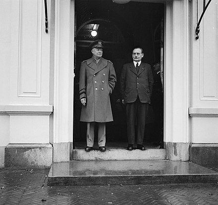 Newly appointed Supreme Allied Commander Europe General Dwight D. Eisenhower and Prime Minister Willem Drees at the Ministry of Defence on 11 January 1951. Generaal Eisenhower bij Dr. Drees en Minister s Jacob, Bestanddeelnr 904-3916.jpg