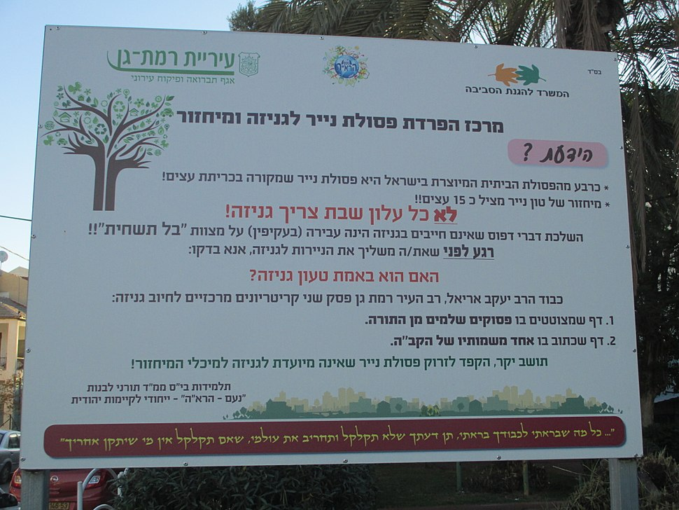 Genizah explanation plaque in Ramat Gan