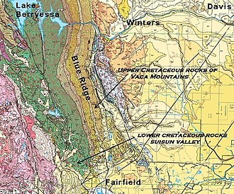 Vaca Mountains - Geologic map of the Vaca Mountains showing east-dipping strata of the Cretaceous Great Valley Sequence that make up the core of the range.