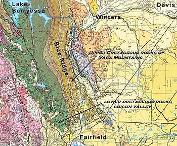 Geologic Map Of The Vaca Mountains Showing East Dipping Strata Of The Cretaceous Great Valley Sequence That Make Up The Core Of The Range