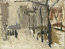An impressionistic looking study in fog or snow with a bridge and a line of trees, a few walking figures on the left